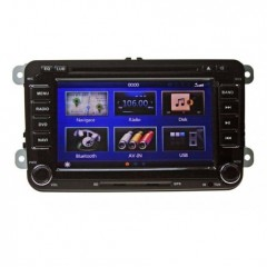 Autorádio pro VW, Škoda s 7'' LCD, GPS, zelené, ČESKÉ MENU
