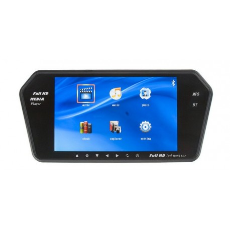 LCD monitor 7'' na zrcátko s microSD/USB/FM modulátor/Bluetooth