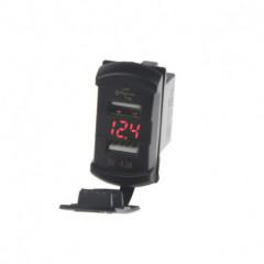 2x USB zásuvka s voltmetrem palcůRockerpalců