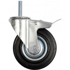 Kolečko otočné s brzdou, gumové se šroubem 130kg 160/39/190mm
