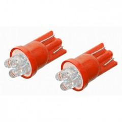 Žárovka 4LED 12V  T10  červená  2ks