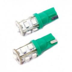 Žárovka 9 SUPER LED 12V  T10  zelená 2ks