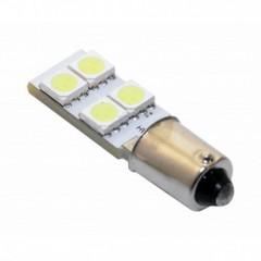 Žárovka 4 SMD LED 12V Ba9S s rezistorem CAN-BUS ready bílá