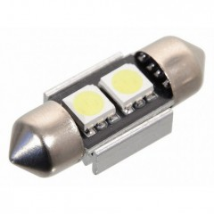 Žárovka 2 SMD LED 12V suf. SV8.5 32mm s rezistorem CAN-BUS ready bílá